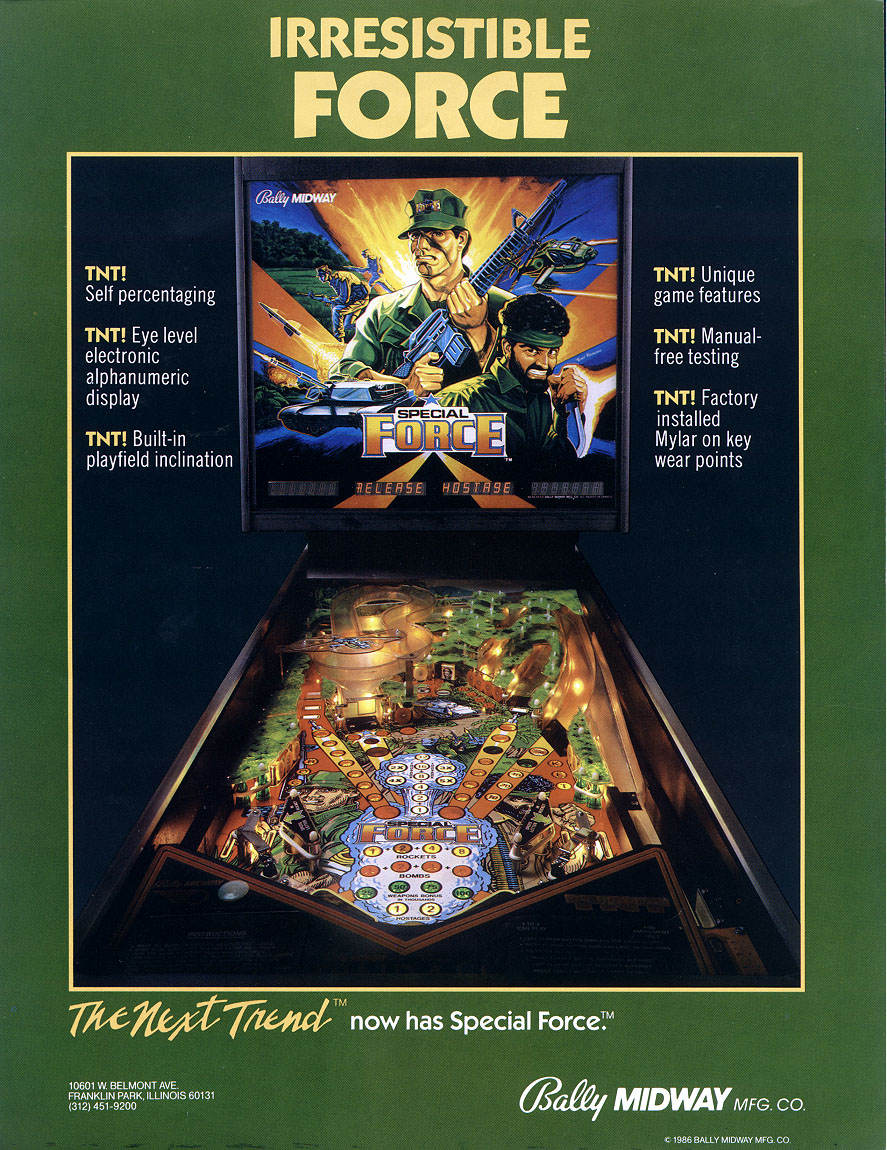 Special Force Pinball - Bally / Midway 1986